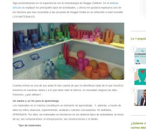 Los materiales en las escuelas de Reggio Emilila